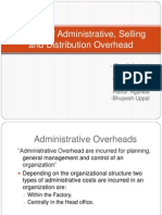 Control of Administrative, Selling and Distribution Overhead