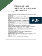 Accesorios Para Microscopios Metalograficos Trioculares