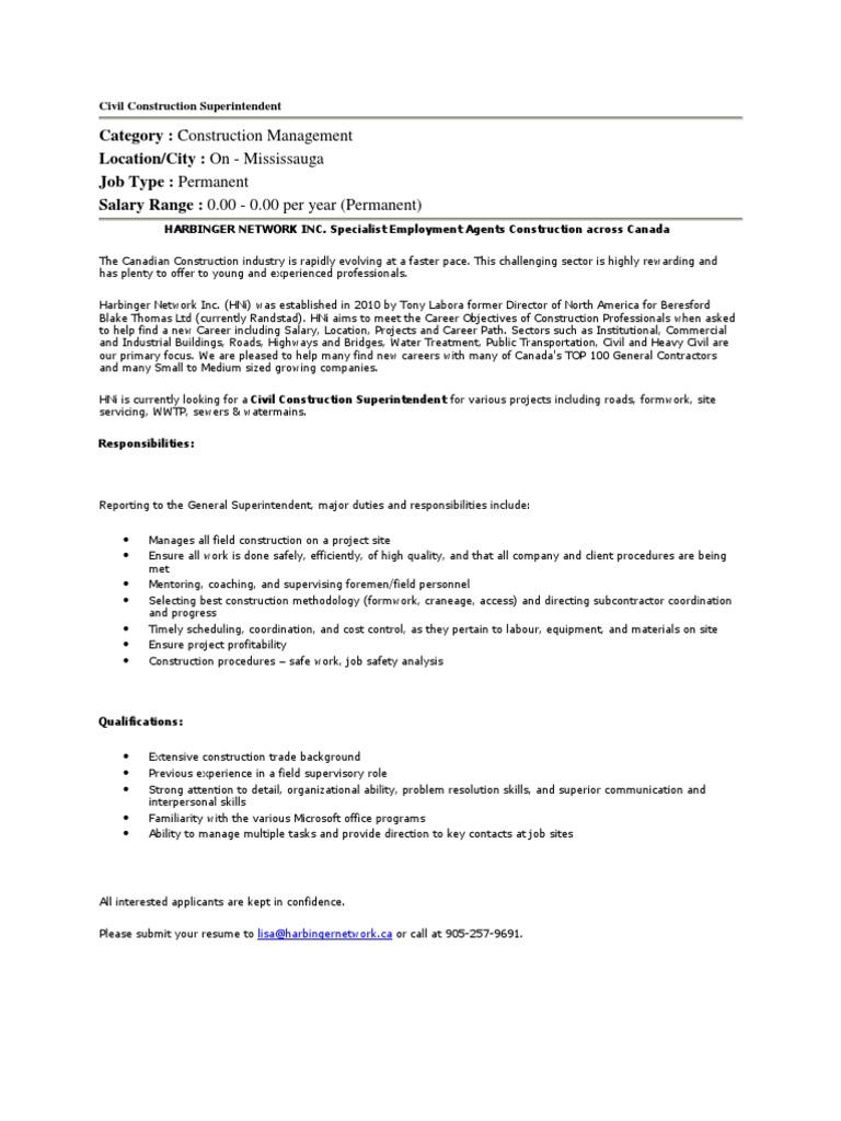 Harbingernetwork Civil Construction Superintendent Job In Mississauga |  Résumé | Canada