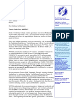 November 2012 Letter for Tourist Guide Law