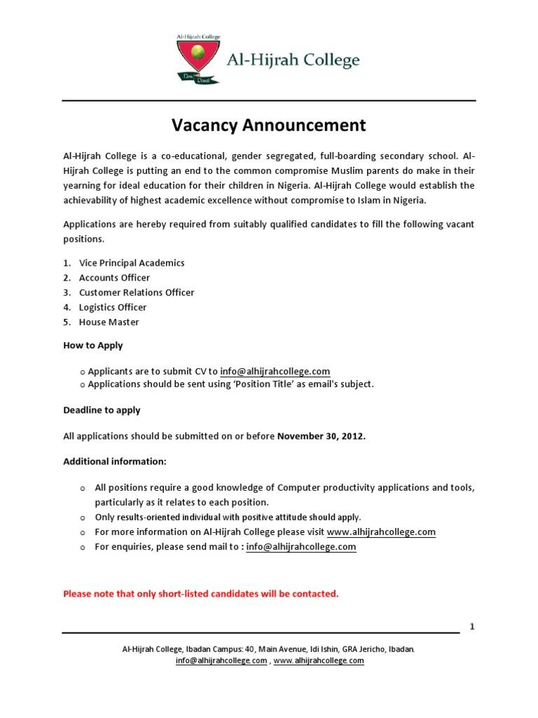 Al-Hijrah College is Recruiting ! | Logistics | Curriculum