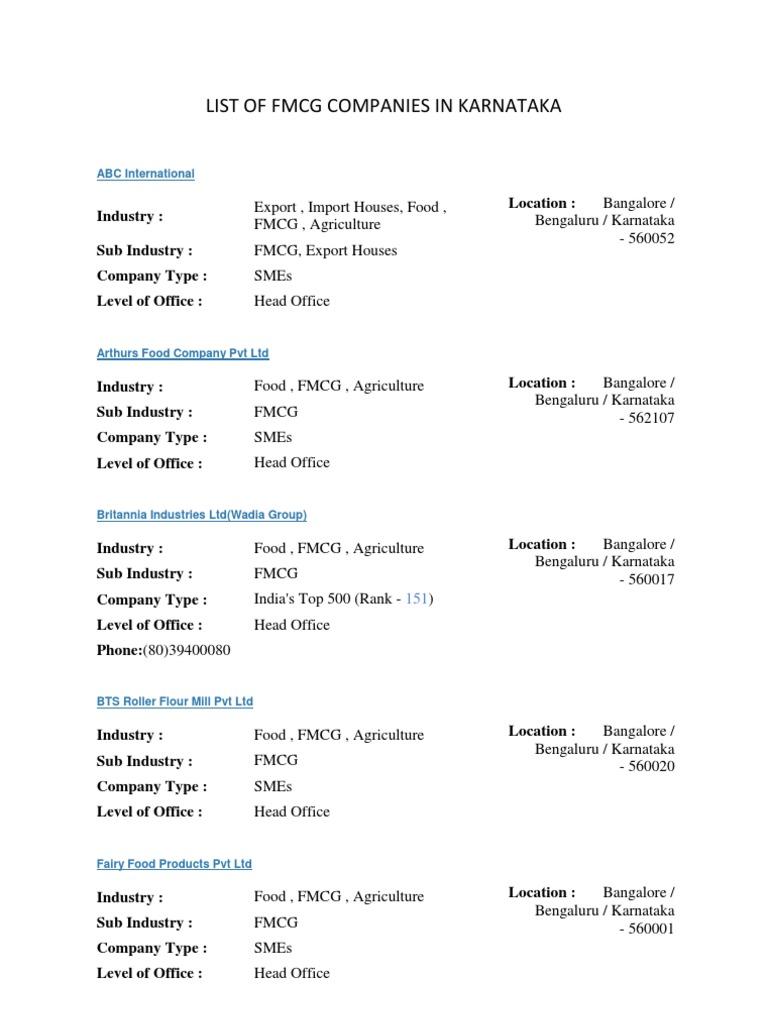 List of FMCG Companies | Bangalore | Food Industry