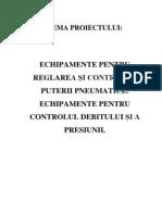 Echipamente pentru reglarea si controlul puterii pneumatice