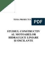 Studiul constructiv al motoarelor hidraulice liniare si oscilante