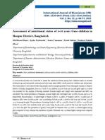 Assessment of Nutritional Status of 5-10 Years Garo Children in Sherpur District, Bangladesh