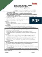 2011-2012 Budget Communication Plan