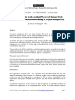 Problems of the Mathematical Theory of Human Work (Principles of Mathematical Modeling in Project Management)