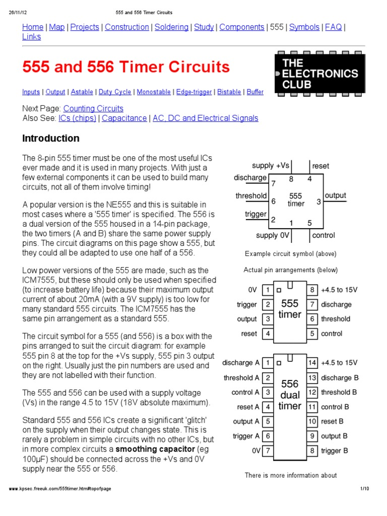555 And 556 Timer Circuits Capacitor Electronic Circuit Diagram On Parallel With A