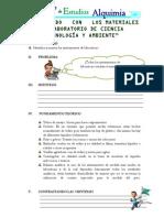 TRABAJANDO   CON   LOS MATERIALES DE LABORATORIO DE CIENCIA TECNOLOGÍA Y AMBIENTE