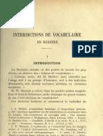 Interdiction de vocabulaire en berbère - E.Destaing