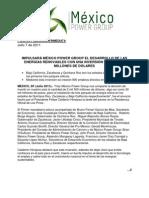 Impulsará méxico power group el desarrollo de las energías renovables con una inversión de 2 mil 500 millones de dólares