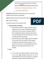 Acta de la Comisión de Liturgia del lunes 19 de noviembre del 2012