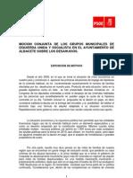 Moción PSOE-IU Desahucios