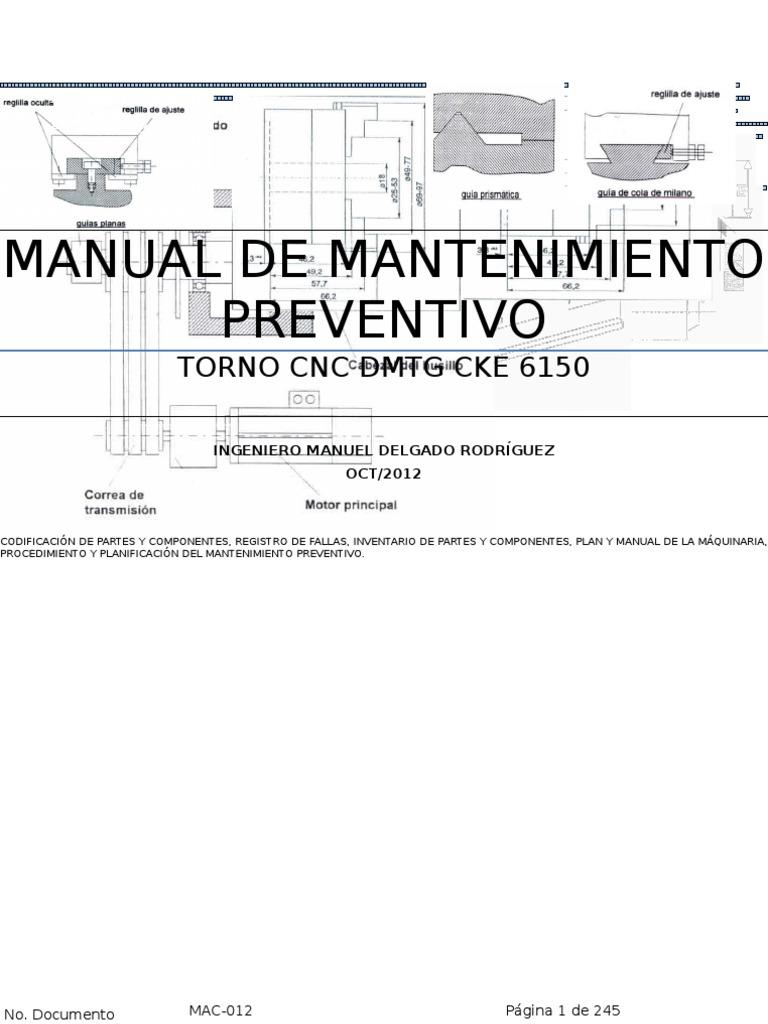 manual mantenimiento preventivo torno cnc dmtg cke 6150 imp rh scribd com manual de mantenimiento preventivo y correctivo de un restaurante manual de mantenimiento preventivo y correctivo de pc