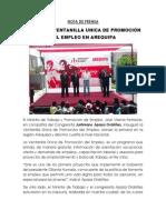 NP. Inauguran Ventanilla Única de Promoción del Empleo en Arequipa. 27112012
