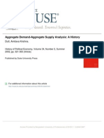 Aggregate Supply Aggregate Demand Analysis a History