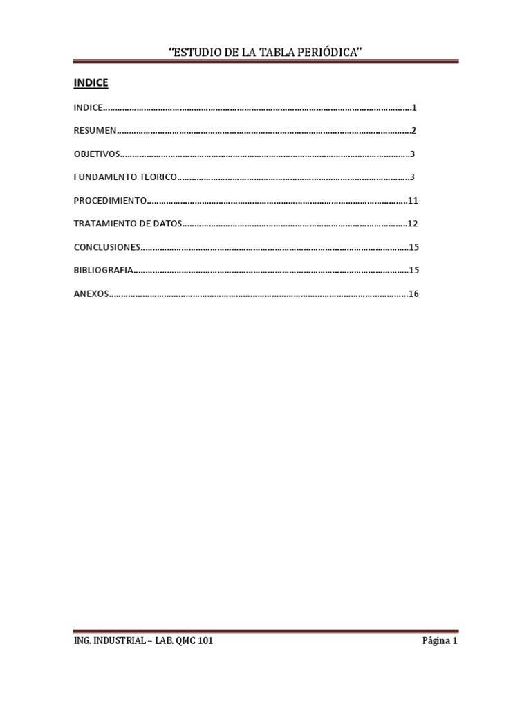Estudio de la tabla periodica informe urtaz Image collections