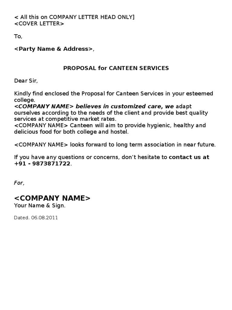 Canteen Proposal | Cafeteria | Kitchen  Cover Letter Business Proposal