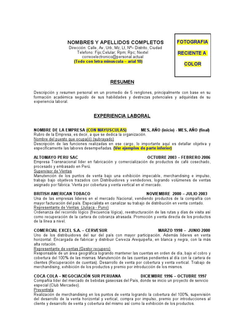Magnífico Experiencia De Ventas Resume Ideas - Colección De ...