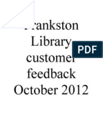 Frankstron Library customer feedback for the month of October, 2012