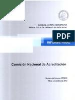 INFORME FINAL 87-2012 COMISIÓN NACIONAL DE ACREDITACIÓN CUMPLIMIENTO DE LA NORMATIVA Y TRANSACCIONES NOVIEMBRE 2012