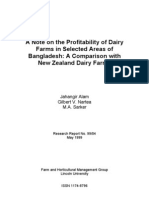 A Note on the Profitability of Dairy Farms in Selected Areas of Bangladesh