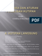 Tata Cara Dan Aturan Penulisan Kutipan