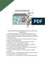 Lista de Las Partes Externas de Fuente ATX y Sus Funciones