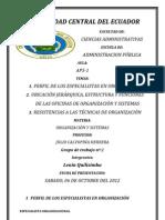 UBICACIÓN JERÁRQUICA, ESTRUCTURA Y FUNCIONES DE LAS OFICINAS DE ORGANIZACIÓN Y SISTEMAS