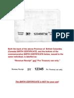 Treasury Statement on British Columbia BIRTH CERTIFICATE