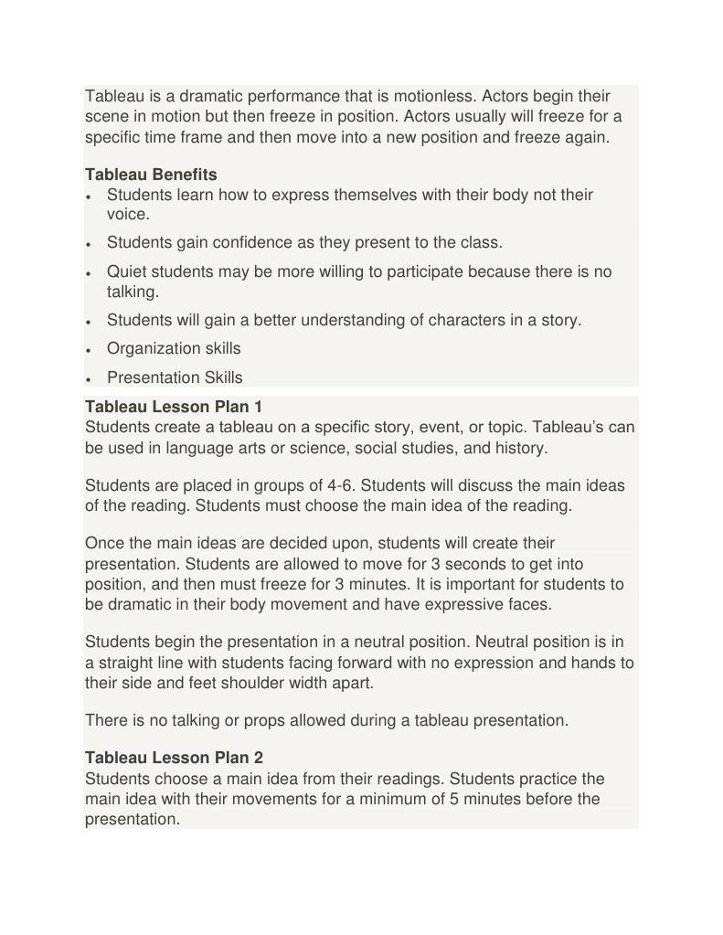 tableau lesson ideas lesson plan reading process