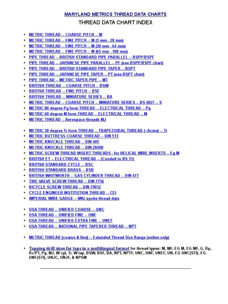 Data Chart For Threads By Maryland Joining Screw 32rh Wiring Diagram