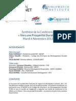 Fondation Goodplanet - Compte Rendu Conference - Vers Une Prosperite Durable - 6 Nov 2012
