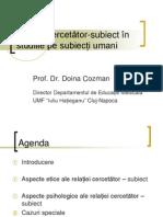 Scoala Doctorala Doina Cosman Relatia Cercetator Subiect 2012