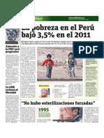 La pobreza en el Perú bajó 3,5 por ciento en el 2011