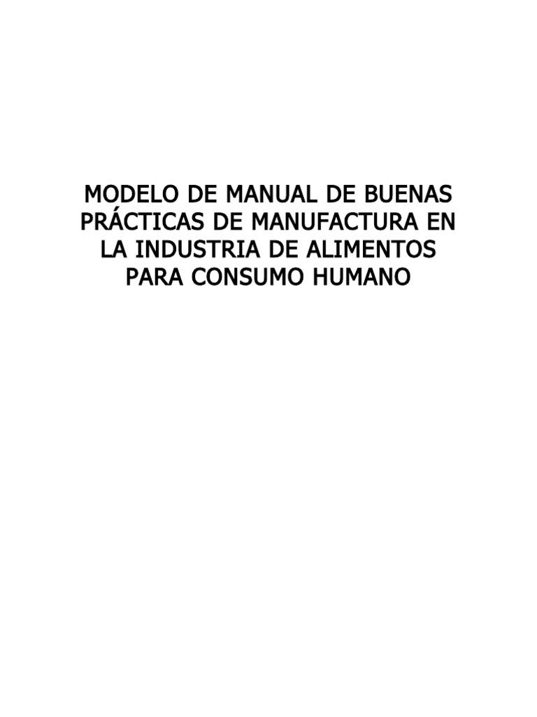 modelo de manual de buenas pr cticas de manufactura en la