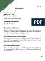 28/11/12 - Orden del día en la Cámara de Diputados