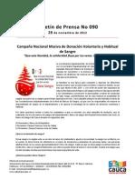 Boletín 090_Campaña Nacional Masiva de Donación Voluntaria y Habitual de Sangre