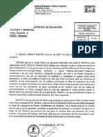 Peticiones realizadas a la Consejería de Educación
