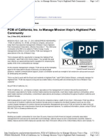 PCM of California, Inc. to Manage Mission Viejo's Highland Park Community