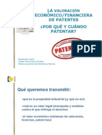 La Valoracion Economico Financiera de Las Patentes_Jornada ITEMAS 27 Noviembre