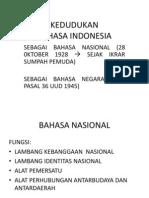 Kedudukan Bhs Indonesia