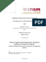 Mémoire DEA STIC Penser la gestion documentaire pour la direction juridique d'une grande entreprise