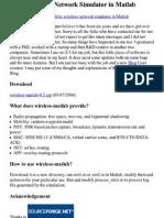 Wireless Network Simulator in Matlab