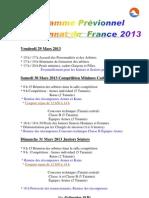 Prévision programme Championnat de France 2013