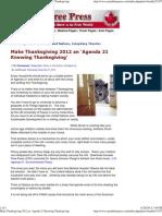 Make Thanksgiving 2012 an 'Agenda 21 Knowing Thanksgiving'