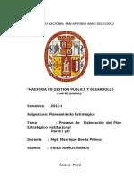 Analisis Critico Proceso Elaboracion Plan Estrategico Isntitucional