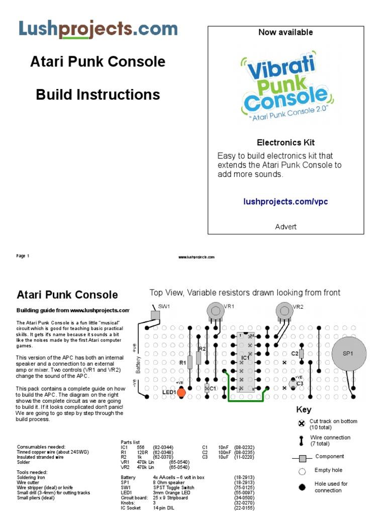 Atari Punk Console Capacitor Resistor Wiring Diagram