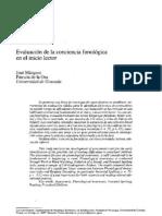 Evaluación conciencia fonológica en el inicio lector