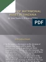 Division of Matrimonial Asset in Tanzania